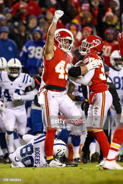 Daniel Sorensen of the Kansas City Chiefs celebrates after defending a pass from Chester Rogers of the Indianapolis Colts during the third quarter of...