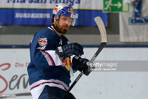 Daniel Sparre of Muenchen celebrates scoring the 2nd team goal during the DEL Ice Hockey match between EHC Red Bull Muenchen and Koelner Haie at...