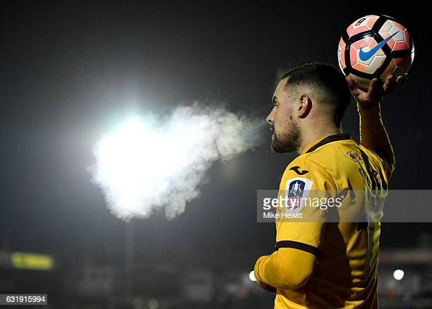 Daniel Spence of Sutton United prepares to take a throw in during the Emirates FA Cup third round replay between AFC Wimbledon and Sutton United at...