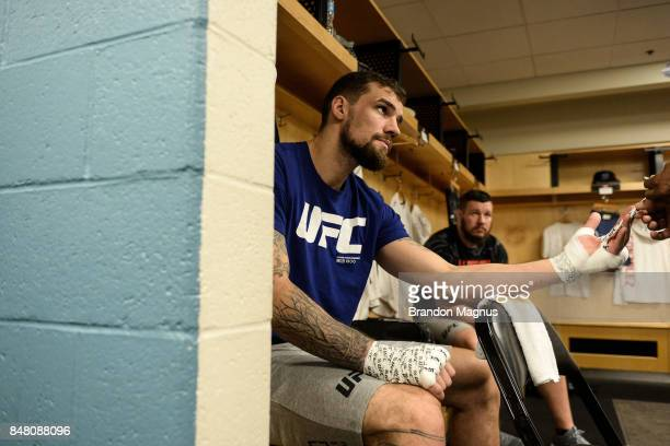 Daniel Spitz gets his hands wrapped backstage during the UFC Fight Night event inside the PPG Paints Arena on September 16, 2017 in Pittsburgh,...
