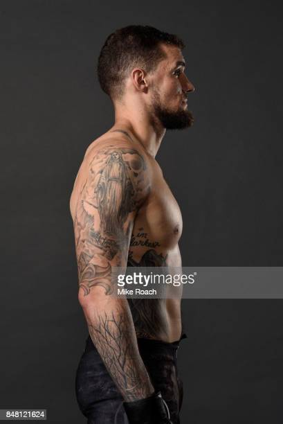 Daniel Spitz poses for a post fight portrait backstage during the UFC Fight Night event inside the PPG Paints Arena on September 16, 2017 in...