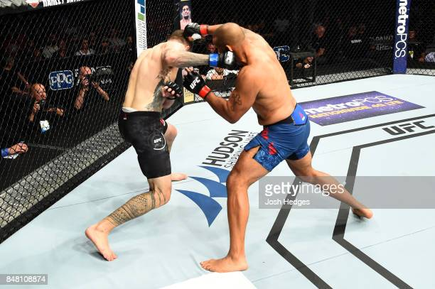 Daniel Spitz punches Anthony Hamilton in their heavyweight bout during the UFC Fight Night event inside the PPG Paints Arena on September 16, 2017 in...