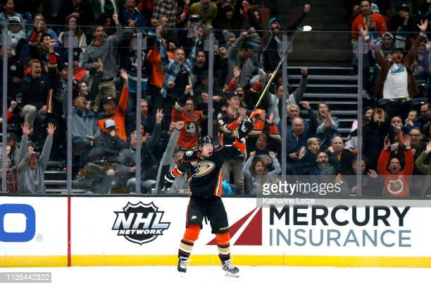 Daniel Sprong of the Anaheim Ducks celebrates a goal during the second period against the Nashville Predators at Honda Center on March 12, 2019 in...