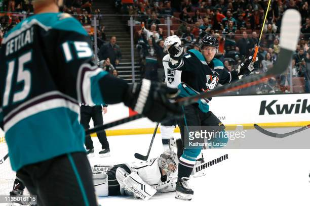 Daniel Sprong of the Anaheim Ducks celebrates his goal with teammate Ryan Getzlaf of the Anaheim Ducks during the first period against the Los...