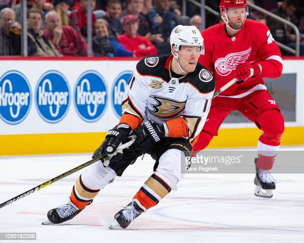 Daniel Sprong of the Anaheim Ducks follows the play against the Detroit Red Wings during an NHL game at Little Caesars Arena on January 15, 2019 in...