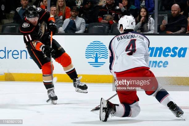 Daniel Sprong of the Anaheim Ducks releases a shot against Scott Harrington of the Columbus Blue Jackets during the game at Honda Center on January...