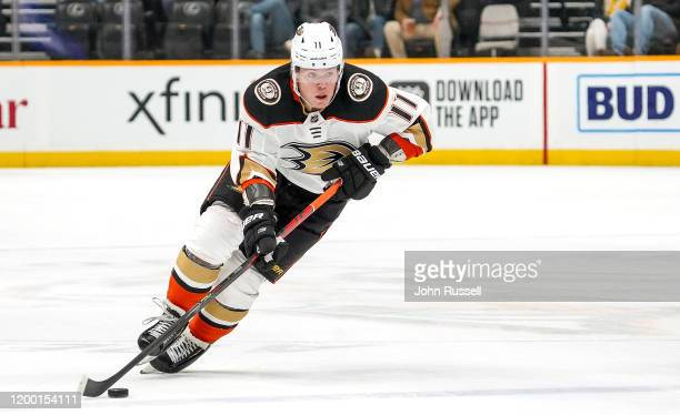 Daniel Sprong of the Anaheim Ducks skates against the Nashville Predators at Bridgestone Arena on January 16, 2020 in Nashville, Tennessee.