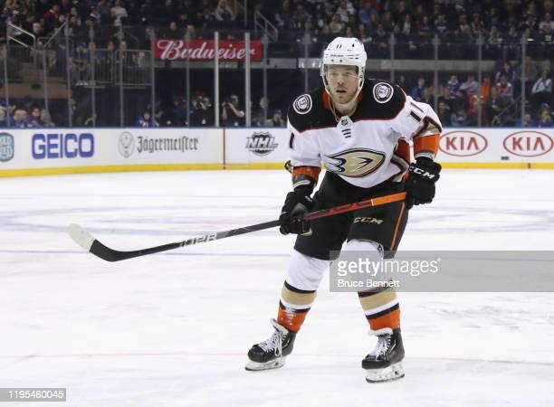 Daniel Sprong of the Anaheim Ducks skates against the New York Rangers at Madison Square Garden on December 22, 2019 in New York City. The Rangers...