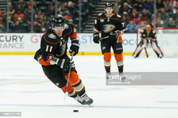 Daniel Sprong of the Anaheim Ducks skates down the ice against the New Jersey Devils at Honda Center on December 09 2018 in Anaheim California