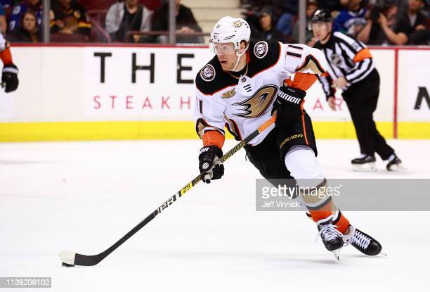 Daniel Sprong of the Anaheim Ducks skates up ice during their NHL game against the Vancouver Canucks at Rogers Arena March 26, 2019 in Vancouver,...