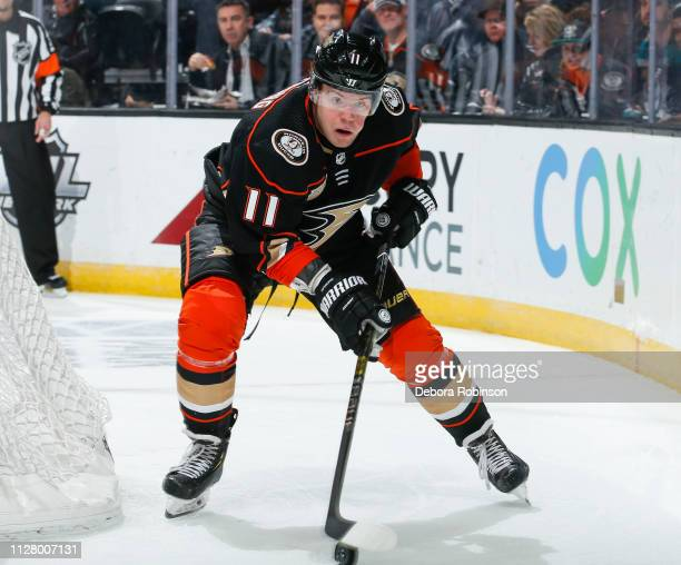 Daniel Sprong of the Anaheim Ducks skates with the puck during the first period of the game against the Chicago Blackhawks at Honda Center on...