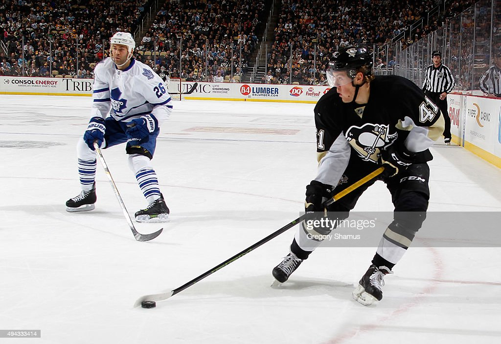 Daniel Sprong #41 of the Pittsburgh Penguins controls the puck against the Toronto Maple Leafs at Consol Energy Center on October 17, 2015 in Pittsburgh, Pennsylvania.