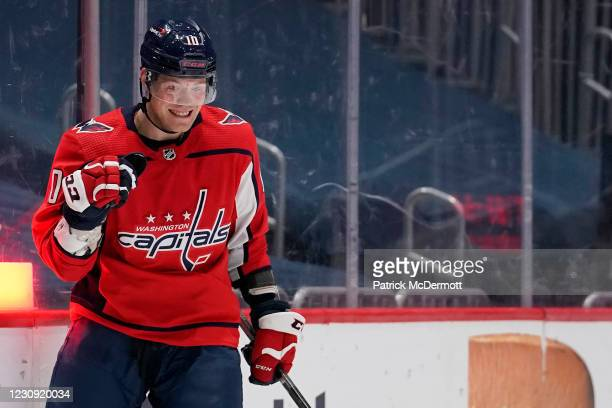 Daniel Sprong of the Washington Capitals celebrates after scoring a goal against the Boston Bruins in the first period at Capital One Arena on...