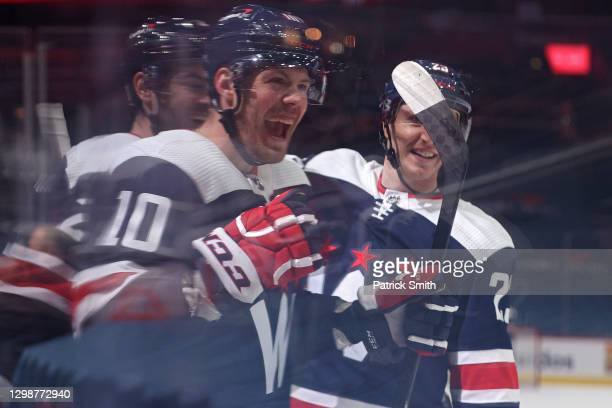 Daniel Sprong of the Washington Capitals celebrates after scoring a goal against the New York Islanders during the second period at Capital One Arena...