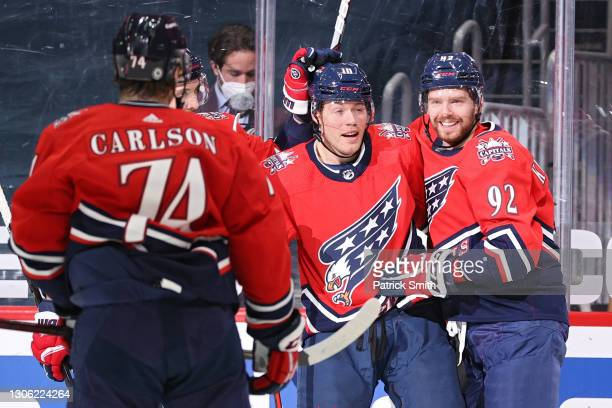 Daniel Sprong of the Washington Capitals celebrates his goal with teammate Evgeny Kuznetsov against the New Jersey Devils during the second period at...