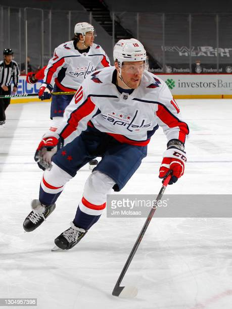Daniel Sprong of the Washington Capitals in action against the New Jersey Devils at Prudential Center on February 28, 2021 in Newark, New Jersey. The...