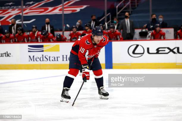 Daniel Sprong of the Washington Capitals looks on against the Buffalo Sabres at Capital One Arena on January 24, 2021 in Washington, DC.