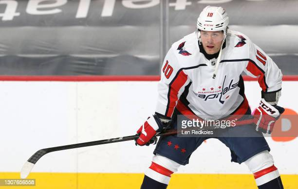 Daniel Sprong of the Washington Capitals looks on during warm-ups against the Philadelphia Flyers at the Wells Fargo Center on March 11, 2021 in...