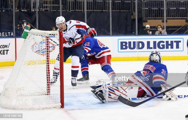 Daniel Sprong of the Washington Capitals scores an unassisted goal at 4:37 of the third period against Igor Shesterkin of the New York Rangers at...