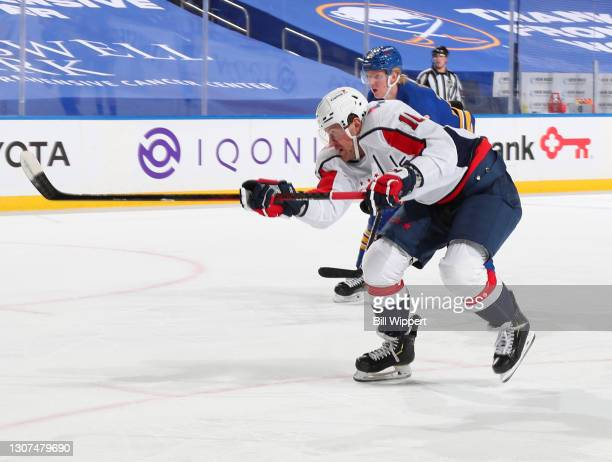 Daniel Sprong of the Washington Capitals shoots and scores a goal during an NHL game against the Buffalo Sabres on March 15, 2021 at KeyBank Center...