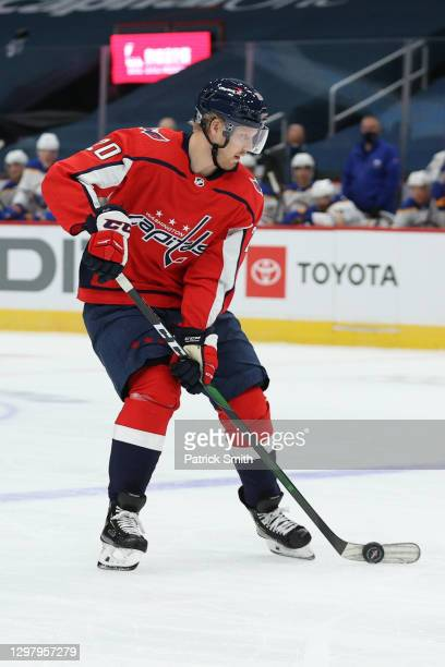 Daniel Sprong of the Washington Capitals skates against the Buffalo Sabres during the first period at Capital One Arena on January 22, 2021 in...