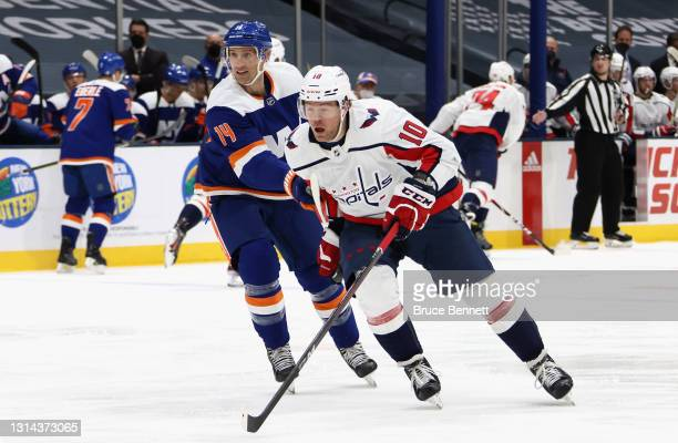 Daniel Sprong of the Washington Capitals skates against the New York Islanders at the Nassau Coliseum on April 24, 2021 in Uniondale, New York.