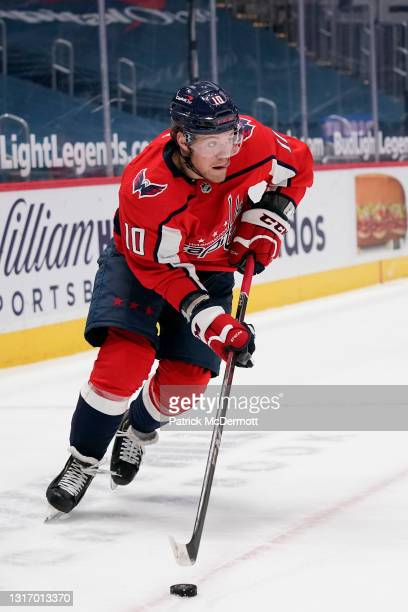Daniel Sprong of the Washington Capitals skates with the puck against the Philadelphia Flyers in the third period at Capital One Arena on May 07,...