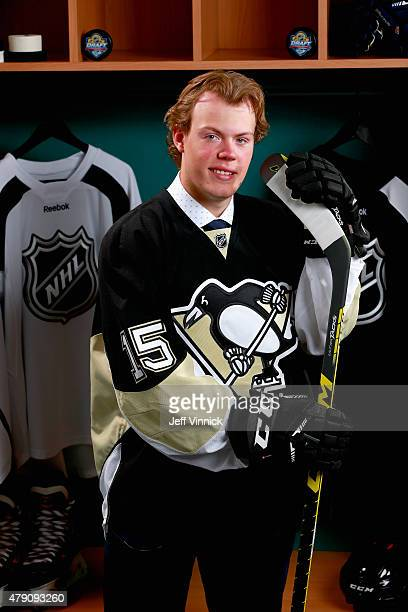 Daniel Sprong poses for a portrait after being selected 46th overall by the Pittsburgh Penguins during the 2015 NHL Draft at BB&T Center on June 27,...