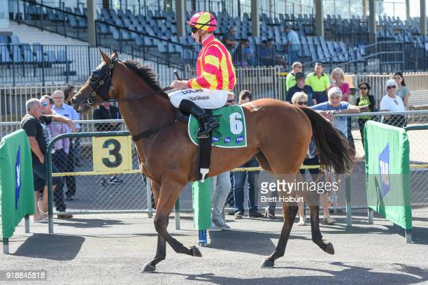 Daniel Stackhouse returns to the mounting yard on Eagle Spirit after winning the Werribee Car Wash BM58 Handicap at Werribee Racecourse on February...