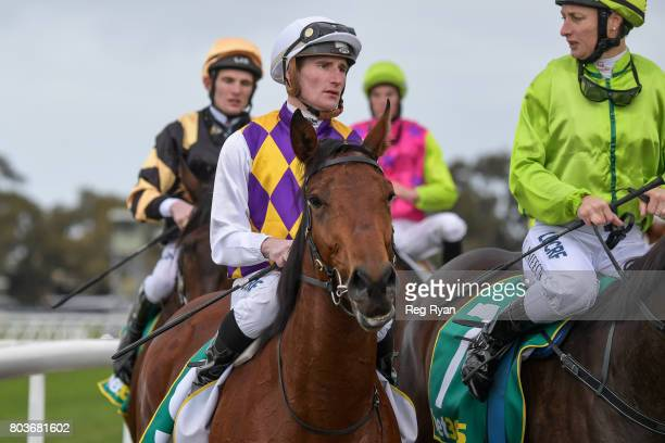 Daniel Stackhouse returns to the mounting yard on Kailua after winning the 13th Beach Golf Club 3YOMaiden Plate at Geelong Synthetic Racecourse on...