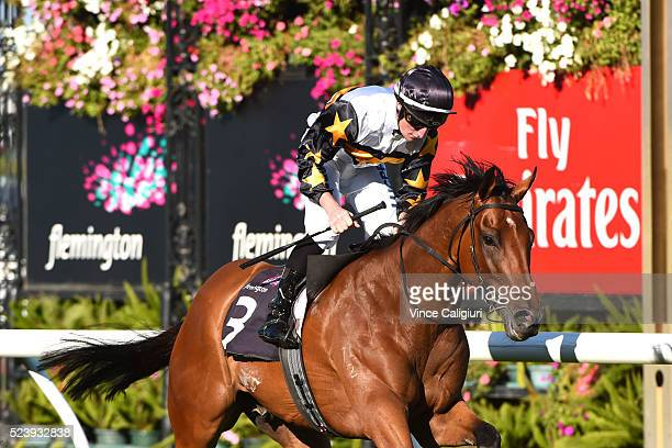 Daniel Stackhouse riding Cool Chap wins Race 5 the VRC St Leger during Melbourne ANZAC Day Racing at Flemington Racecourse on April 25 2016 in...