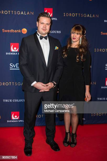 Daniel Stahl and guest walk the red carpet when arriving at Idrottsgalan the annual Swedish sports awards gala held at the Ericsson Globe Arena on...