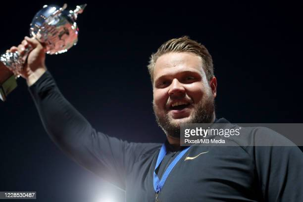 Daniel Stahl of Sweden celebrate on the podium at Medal Ceremony for the man's Discus Throw finals during a IAAF World Challenge Zagreb 2020 70...
