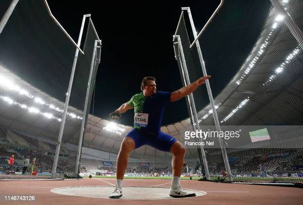 Daniel Stahl of Sweden competes in the Men's Discus during the IAAF Diamond League event at the Khalifa International Stadium on May 03, 2019 in...