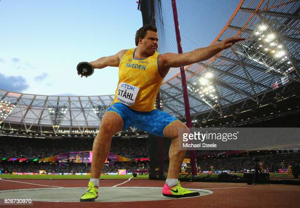 Daniel Stahl of Sweden competes in the Men's Discus final during day two of the 16th IAAF World Athletics Championships London 2017 at The London...