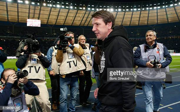 Daniel Stendel head coach of Hannover looks on prior to the the Bundesliga match between Hertha BSC and Hannover 96 at Olympiastadion on April 8 2016...