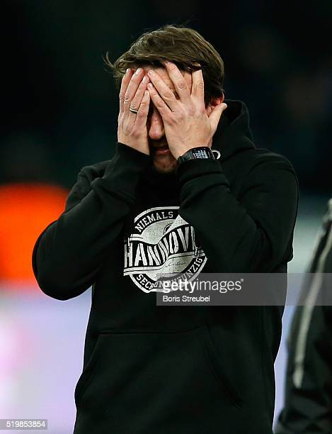 Daniel Stendel head coach of Hannover reacts after the the Bundesliga match between Hertha BSC and Hannover 96 at Olympiastadion on April 8 2016 in...