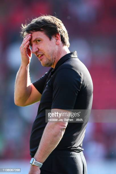 Daniel Stendel the head coach / manager of Barnsley during the Sky Bet League One match between Barnsley and Shrewsbury Town at Oakwell Stadium on...