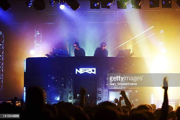 Daniel Stephens and Joe Ray of Nero perform on stage at O2 Academy on March 14 2012 in Sheffield United Kingdom