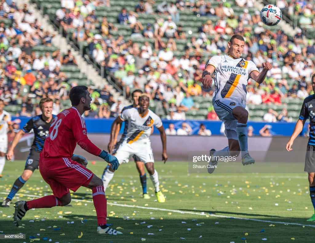 Daniel Steres #5 of Los Angeles Galaxy heads a cross toward goal during the Los Angeles Galaxy's MLS match against San Jose Earthquakes at the StubHub Center on August 27, 2017 in Carson, California. San Jose won the match 3-0