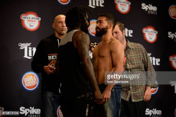 Daniel Straus and Patricio Freire pose for photos at the weighin Patricio Freire will be challenging Daniel Straus for the Featherweight title in...