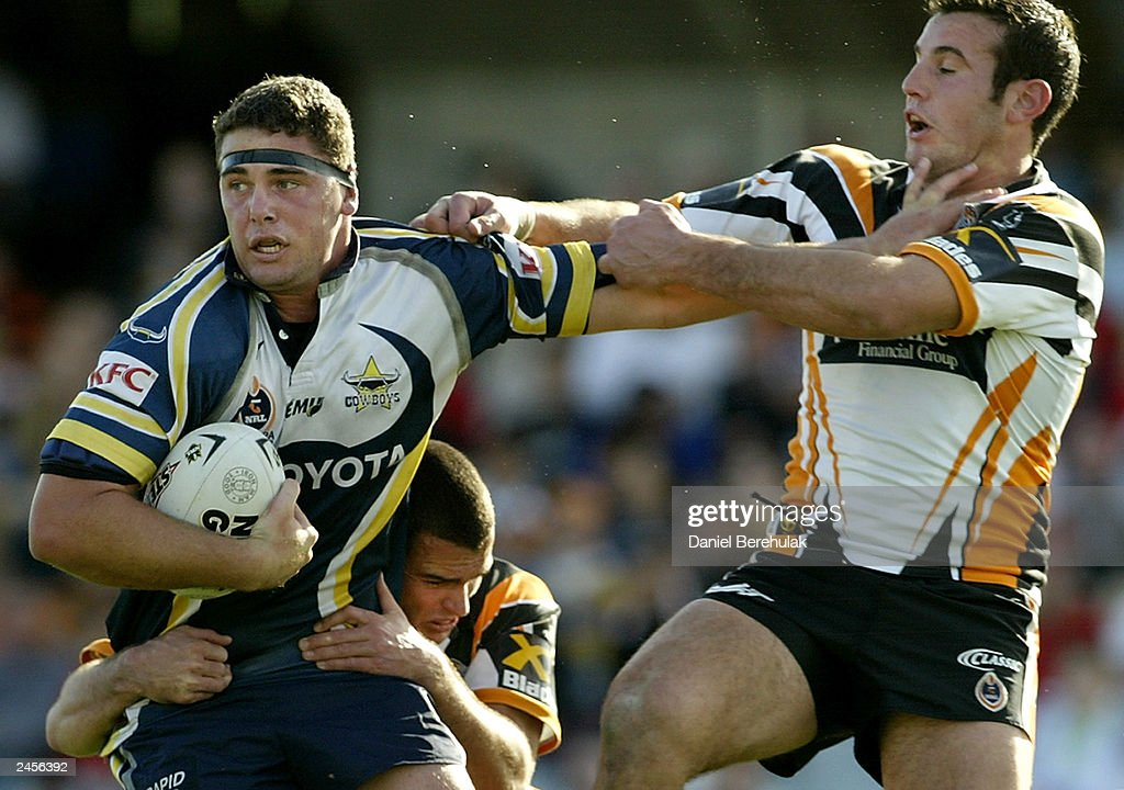 Daniel Strickland #17 of the Cowboys in action during the round 25 NRL match between the Wests Tigers and the North Queensland Cowboys at Campbelltown Oval August 31, 2003 in Sydney, Australia.