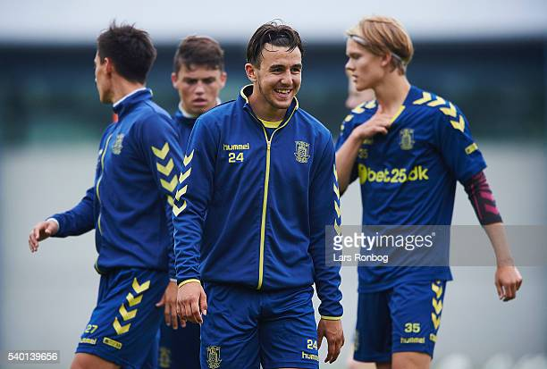 Daniel Stuckler of Brondby IF laughing during the Brondby IF training session at Brondby Stadion on June 14 2016 in Brondby Denmark