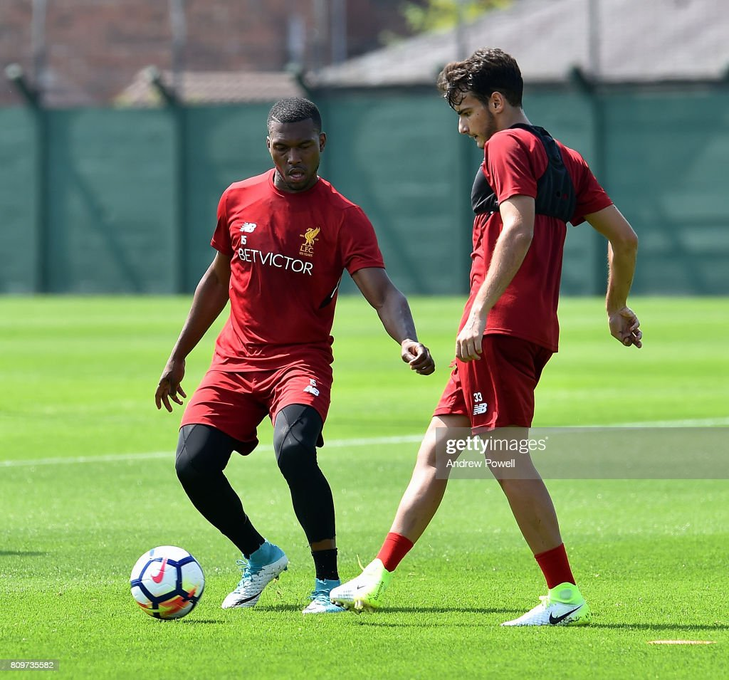 Daniel Sturrdige of Liverpool during a training session at Melwood Training Ground on July 6, 2017 in Liverpool, England.