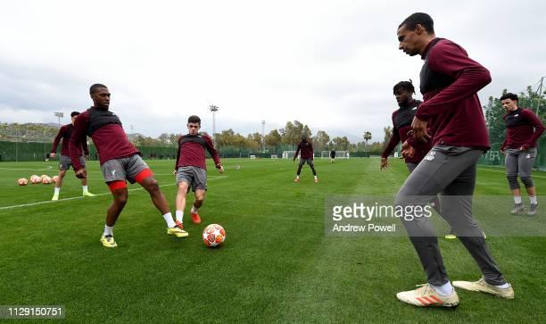 Daniel Sturridge Adam Lewis and Joel Matip of Liverpool during a training session on February 12 2019 in Marbella Spain