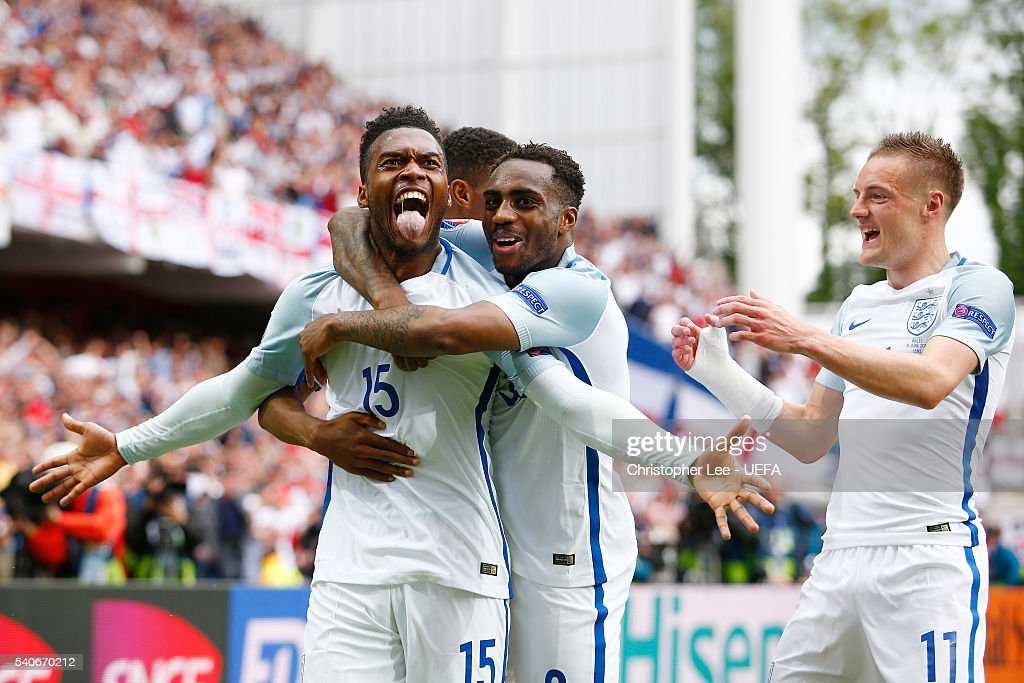 Daniel Sturridge and Danny Rose of England celebrate England's second goal during the UEFA EURO 2016 Group B match between England and Wales at Stade Bollaert-Delelis on June 16, 2016 in Lens, France.