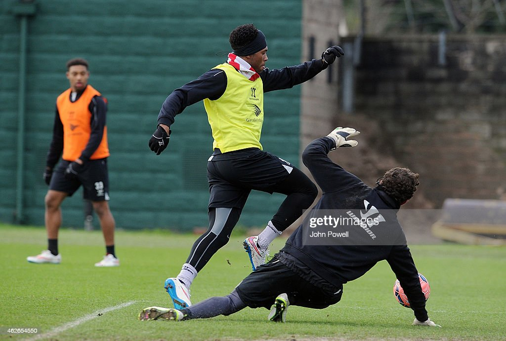 Daniel Sturridge and Danny Ward of Liverpool during a training session at Melwood Training Ground on February 2, 2015 in Liverpool, England.