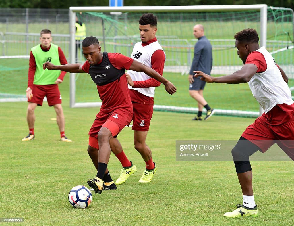 Daniel Sturridge and Dominic Solanke of Liverpool during a training session at Rottach-Egern on July 27, 2017 in Munich, Germany.