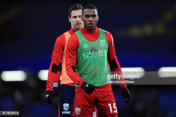 Daniel Sturridge and Grzegorz Krychowiak of West Bromwich Albion during the Premier League match between Chelsea and West Bromwich Albion at Stamford...