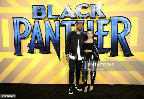Daniel Sturridge and Jamila attend the European Premiere of 'Black Panther' at Eventim Apollo on February 8 2018 in London England